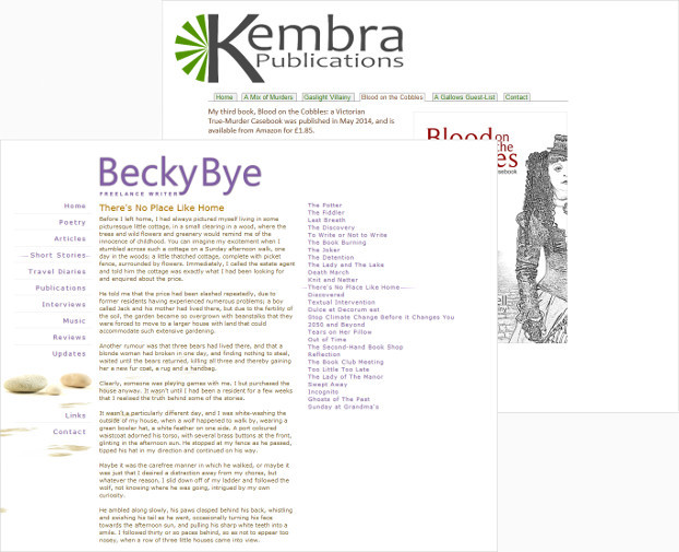 Screen-shot of beckybye.com and kembrapublications.com