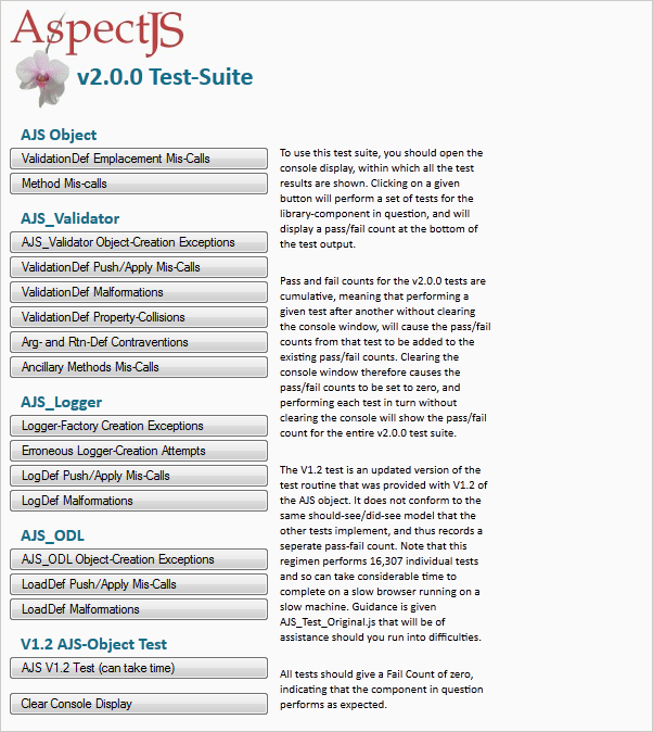 Screenshot of the AspectJS Test Suite